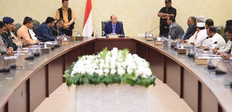 Hadi meets Beidha local authority leaders