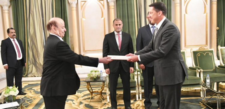 President Hadi receives credentials of several ambassadors